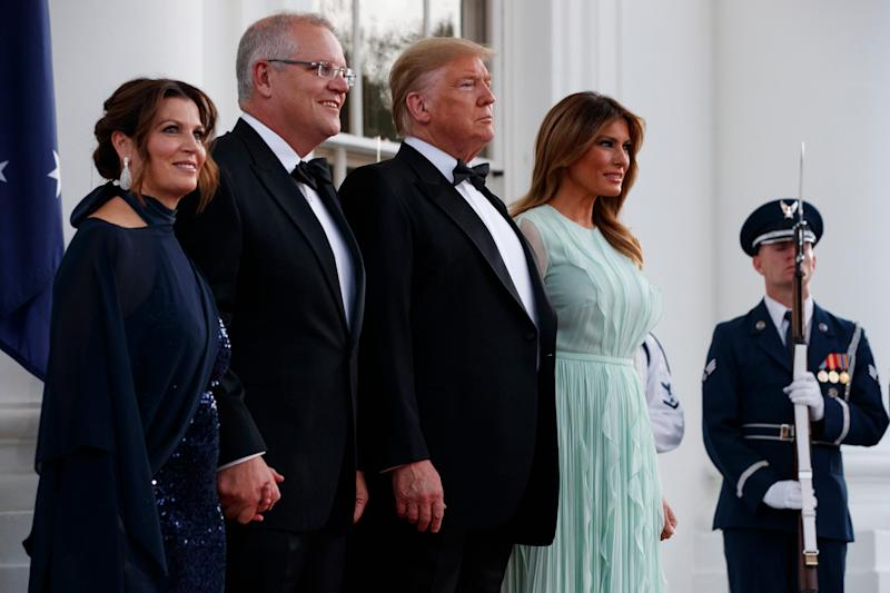 President Donald Trump and first lady Melania Trump welcome Australian Prime Minister Scott Morrison and his wife Jenny Morrison during for a State Dinner at the White House, Friday, Sept. 20, 2019, Washington.