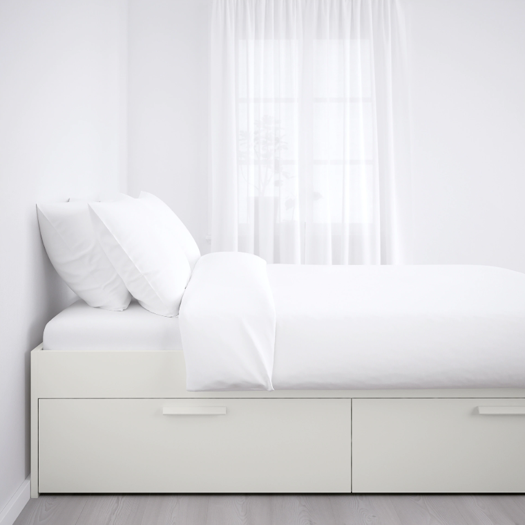 There are four spacious drawers built into this IKEA bed. SHOP NOW: BRIMNES Queen Bed Frame with Storage, $279, ikea.com