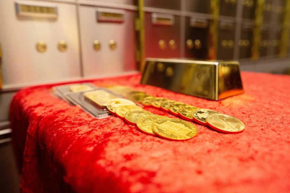 Examples of gold bullion are on show at Merrion vaults in Dublin. (Photo credit should read PAUL FAITH/AFP via Getty Images)