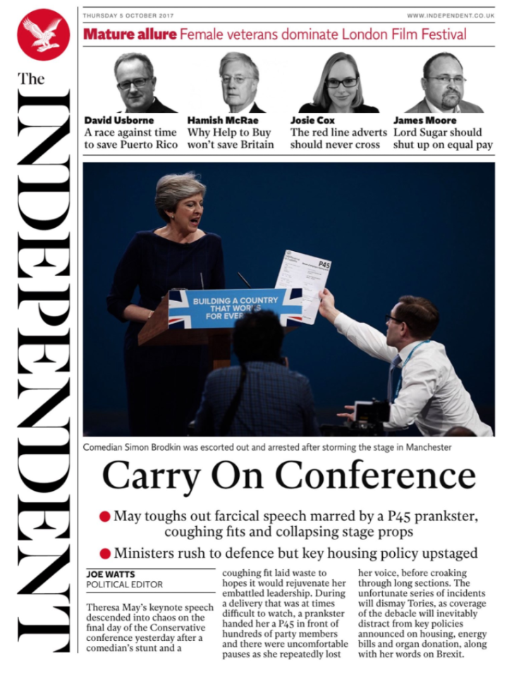 <p>The calamity-strewn speech was named the 'Carry On Conference' by The Independent. </p>