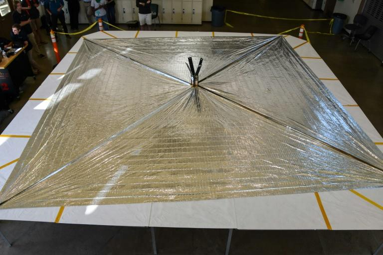 The LightSail 2 spacecraft sits on its deployment table following a successful day-in-the-life test at California Polytechnic State University in San Luis Obispo, California (AFP Photo/Jason Davis)