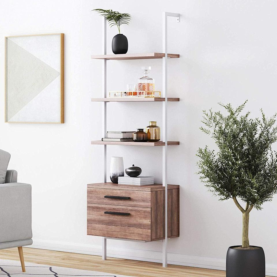 <p>You can store so much on this <span>Nathan James Theo Industrial Bookshelf</span> ($458).</p>