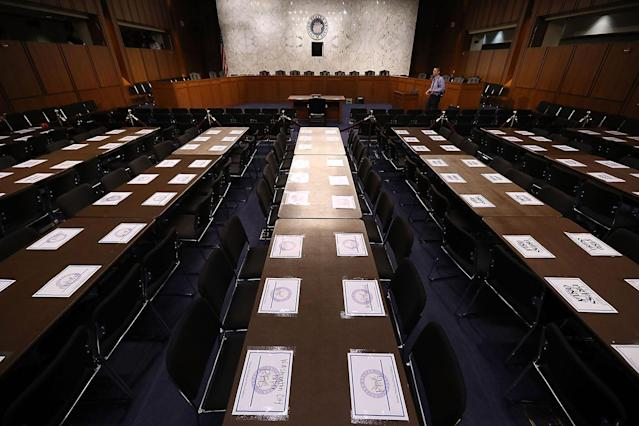 <p>Places are reserved for journalists in the hearing room ahead of U.S. Attorney General Jeff Sessions' testimony before the Senate Intelligence Committee about Russian interference in the 2016 presidential election in the Hart Senate Office Building on Capitol Hill June 13, 2017 in Washington. (Photo: Chip Somodevilla/Getty Images) </p>