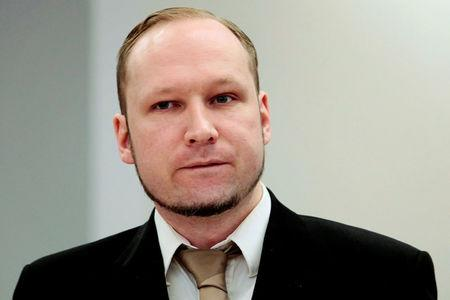 FILE PHOTO: Norwegian mass killer Anders Behring Breivik attends the second day of his murder trial in Oslo