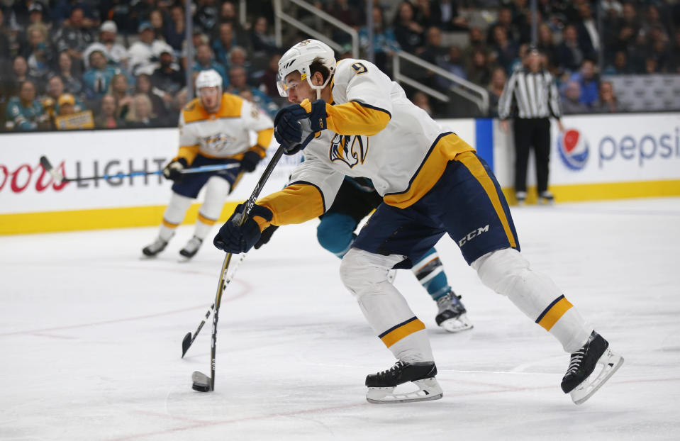 Nashville Predators' Filip Forsberg (9) fires the puck to score against the San Jose Sharks' Marc-Edouard Vlasic (44) in the second period of an NHL hockey game in San Jose, Calif., Tuesday, Nov. 13, 2018. (AP Photo/Josie Lepe)