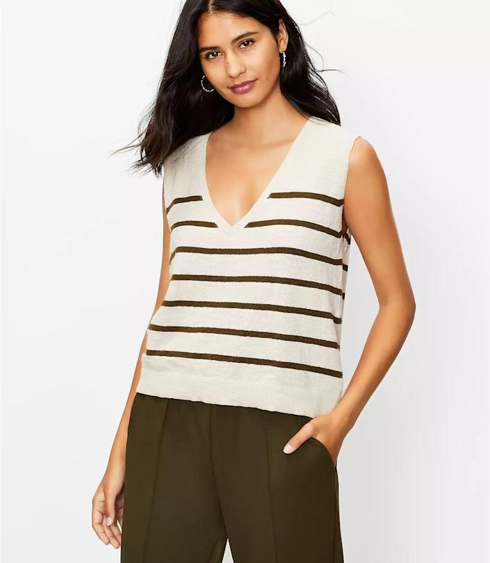 <p>This <span>Loft Striped Muscle Sweater Tank</span> ($50, plus 40 percent off with code WOW) is a perfectly acceptable work-from-home top because of the polished appearance. The sleeveless silhouette and V-neck make it effortlessly cool.</p>