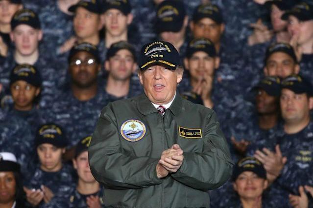 President Trump speaks aboard the USS Gerald R. Ford in March. (Mark Wilson/Getty Images)