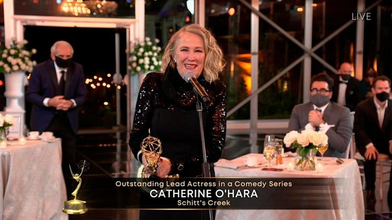 "Catherine O'Hara accepts the Emmy for Outstanding Lead Actress in a Comedy Series for ""Schitt's Creek"" accepts the Emmy for xxx during the 72nd Emmy Awards telecast on Sunday, Sept. 20, 2020 at 8:00 PM EDT/5:00 PM PDT on ABC. (Invision for the Television Academy/AP) (Photo: Invision/AP)"