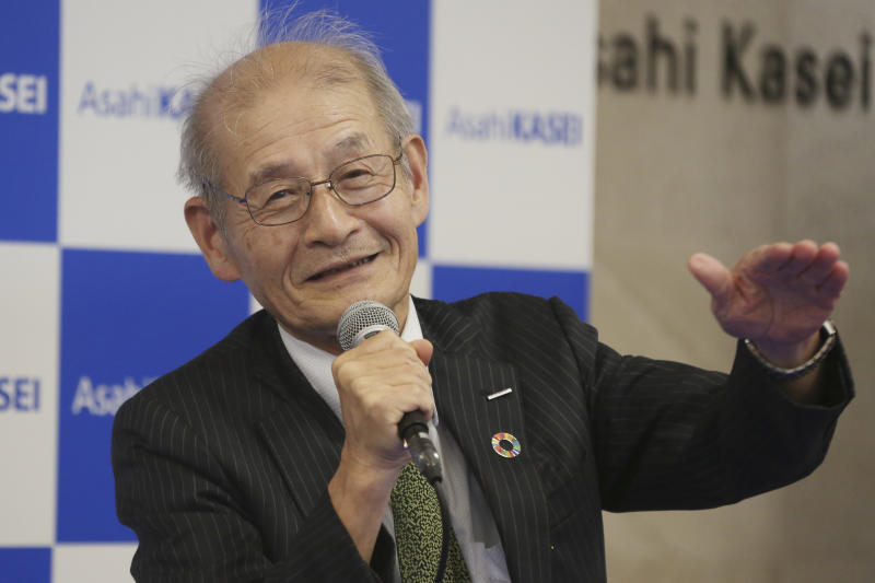 Winner of Nobel Prize of Chemistry Akira Yoshino smiles during a press conference in Tokyo, Wednesday, Oct. 9, 2019. (AP Photo/Koji Sasahara)
