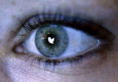 FILE PHOTO: An illustration picture shows the Twitter logo reflected in the eye of a woman in Berlin, November 2013.