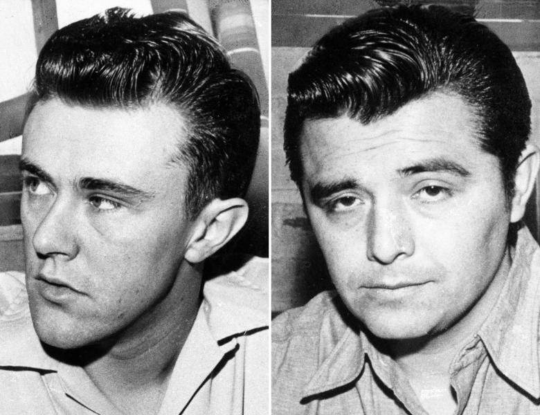 """FILE - This combo made from file photos shows Richard Hickock, left, and Perry Smith, the two men hanged for the Nov. 15, 1959 murders of Herb and Bonnie Clutter and their children in Holcomb, Kan. that became infamous in Truman Capote's true-crime book """"In Cold Blood."""" Kansas Bureau of Investigation Deputy Director Kyle Smith said Wednesday, May 29, 2013, that DNA testing so far has been inconclusive on whether two men can also be linked to the unsolved murders of a Florida family weeks later. Smith said the agency will continue testing material collected from the remains of the convicted murderers. The KBI initially projected it would have definitive results from the DNA early this month, but the agency now has no timetable for when the testing will be complete. (AP Photos/File)"""