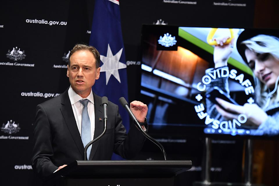 Minister for Health Greg Hunt at a press conference to launch the new government app on April 26. Source: AAP