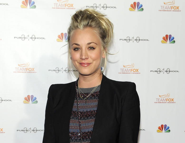 "FILE - This Dec. 5, 2012 file photo shows actress Kaley Cuoco at the Raising the Bar to End Parkinsons fundraising event at Public School 310 in Culver City, Calif. ""The Big Bang Theory"" star, Cuoco, is starting 2014 off as a Mrs. The 28-year-old actress wed 26-year-old tennis pro, Ryan Sweeting, in a New Year's Eve ceremony in Calif, her rep confirms. (Photo by Chris Pizzello/Invision/AP, file)"