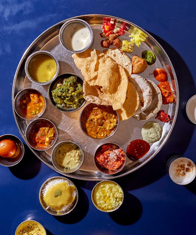 A thali at Shree Thaker Bhojanalay, in the Kalbadevi neighborhood of South Mumbai. | Gentl and Hyers
