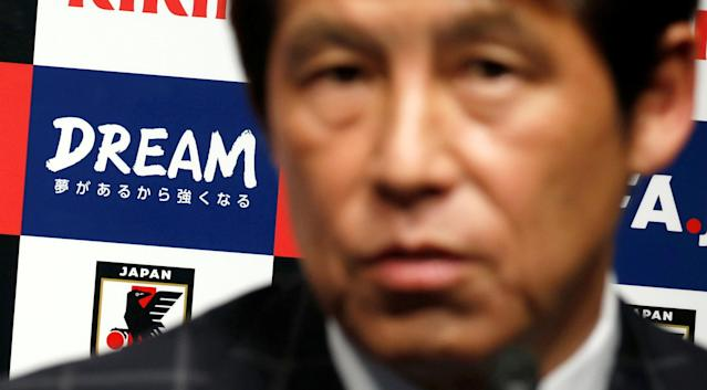 Japan's national soccer team's new head coach Akira Nishino attends a news conference in Tokyo, Japan April 12, 2018. REUTERS/Toru Hanai