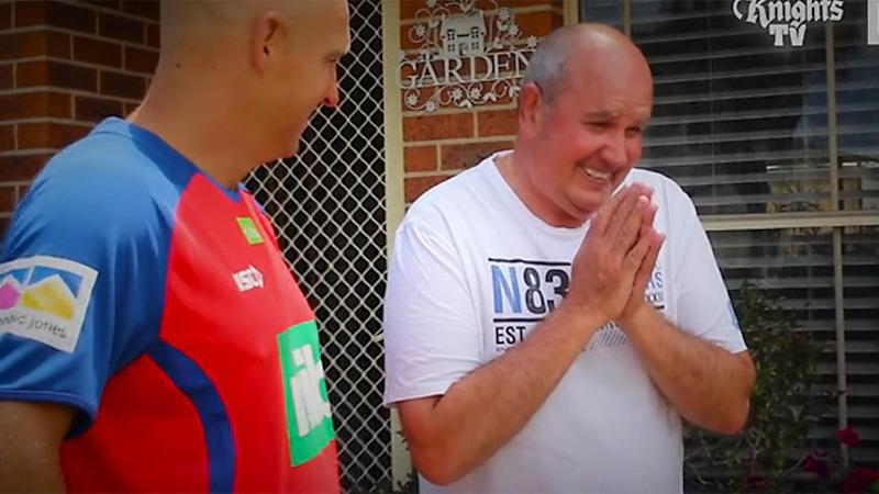 Geoff can't believe the touching gesture. Pic: Knights TV