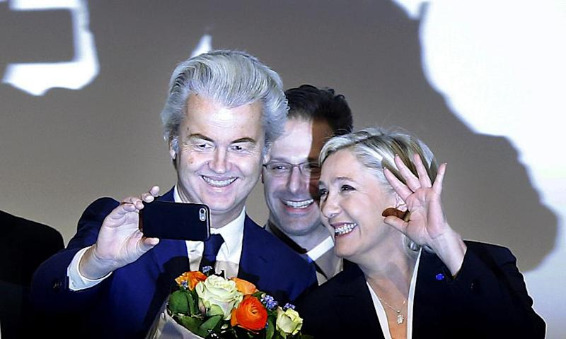 Far-right anti-Islam MP Geert Wilders, who is leading in opinion polls, takes a selfie with France's far-right Front National candidate Marine Le Pen – who is currently leading in the polls ahead of the country's elections this Spring.
