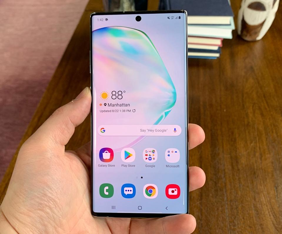 You'll want to hold the Note10+ with both hands if you don't want to drop it. (Image: Howley)