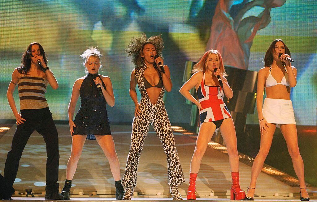 The Spice Girls perform at the Brit Awards on Feb. 24, 1997. (Photo: Dave Benett/Getty Images)