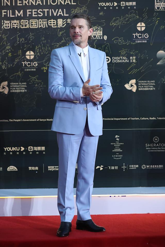 <p>WHAT: Givenchy </p> <p>WHERE: At the Hainan Island International Film Festival</p> <p>WHEN: December 1, 2019</p> <p>WHY: Long live the powder blue suit—especially on Ethan Hawke. </p>