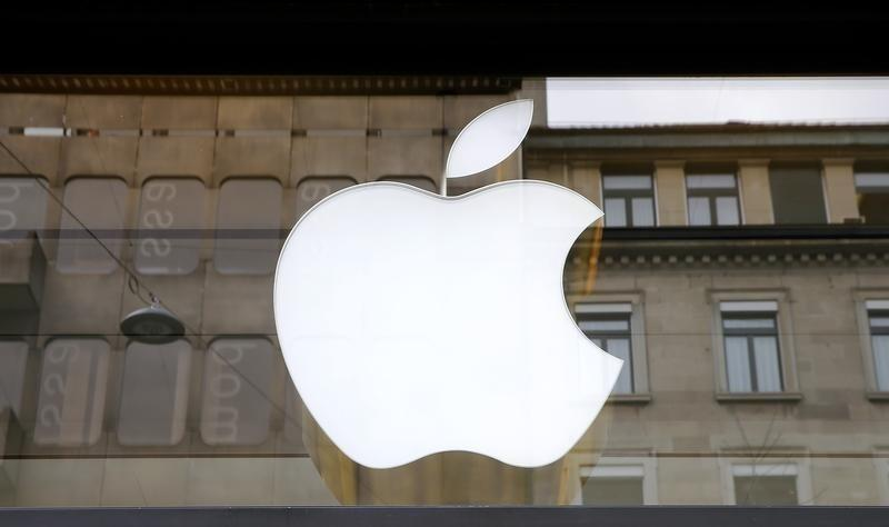 Logo of U.S. technology company Apple is seen in Zurich