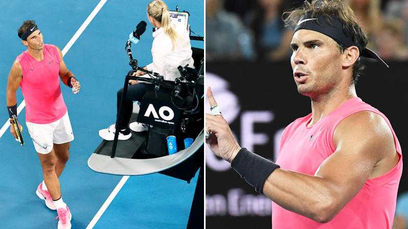 Rafael Nadal, pictured here arguing with the chair umpire at the Australian Open.