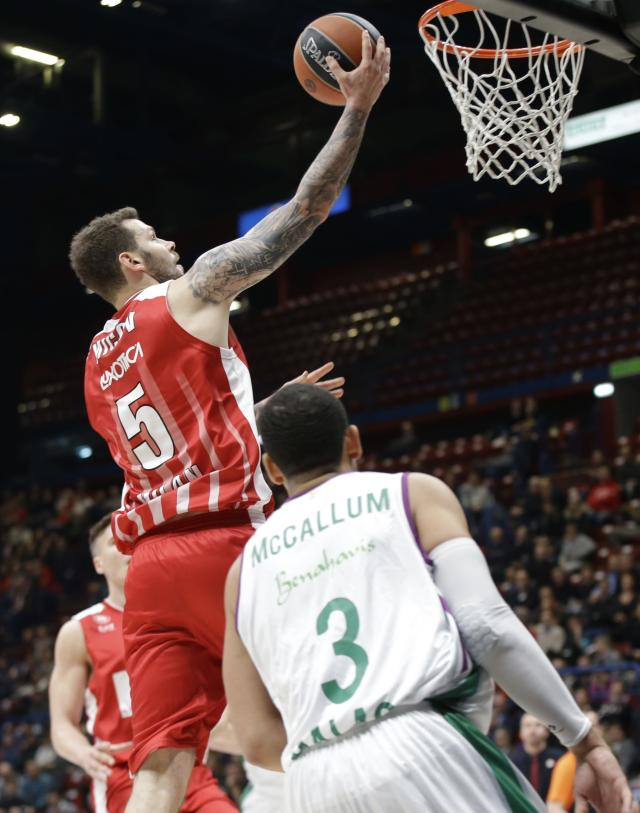 Olimpia's Vladimir Micov goes for the basket during the Euroleague basketball match between Olimpia Milan and Malaga, at the Assago Forum, near Milan, Italy, Wednesday, Jan. 17, 2018. (AP Photo/Luca Bruno)
