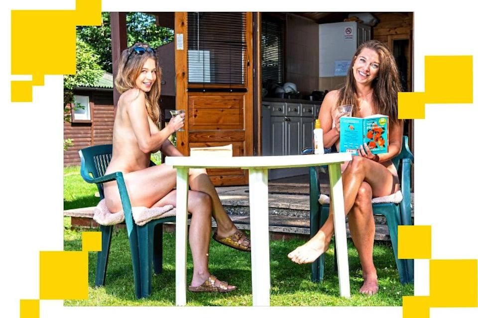 New recruits: journalist Lucy Holden, right, and her friend Rosie on their week-long holiday at the Apollo Sun Club naturist camp in Brighton (Lucy Young)