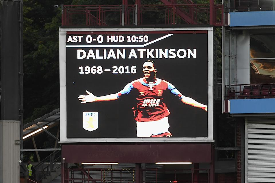 BIRMINGHAM, ENGLAND - AUGUST 16:  A  tribute for Dalian Atkinson is seen on the screen inside the stadium during the Sky Bet Championship match between Aston Villa and Huddersfield Town at Villa Park on August 16, 2016 in Birmingham, England.  (Photo by Stu Forster/Getty Images)