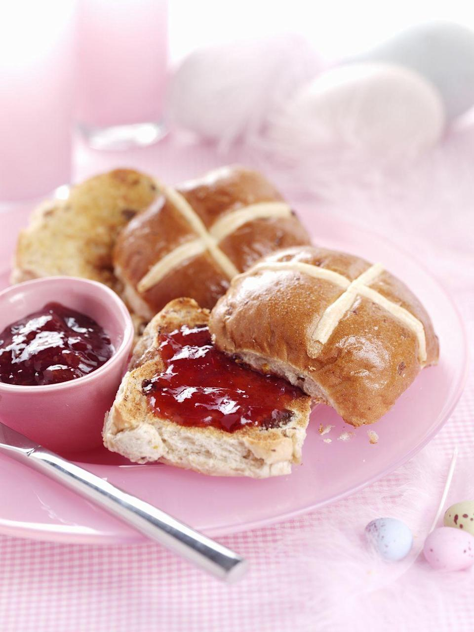 """<p>These Easter-famous breads trace back to ancient Egypt, Rome, and Greece, where they served as symbols of honor toward their goddesses, according to the <a href=""""https://app.ckbk.com/reference/food77337c08s001e120/hot-cross-buns"""" rel=""""nofollow noopener"""" target=""""_blank"""" data-ylk=""""slk:Oxford Companion to Food"""" class=""""link rapid-noclick-resp"""">Oxford Companion to Food</a>. Later, these sweet breads became popular at Easter, especially in England where bakers were forbidden to sell <a href=""""https://www.goodhousekeeping.com/food-recipes/cooking/g4955/how-to-make-banana-bread/"""" rel=""""nofollow noopener"""" target=""""_blank"""" data-ylk=""""slk:spice breads"""" class=""""link rapid-noclick-resp"""">spice breads</a> except on special holidays, like the Friday before Easter.</p><p>Many English believed hot cross buns baked on Good Friday would never grow moldy; they were kept as good luck charms hanging in windows, accompanied sailors on a voyage, or buried in piles of grain to ward off rodents. Today, they're <a href=""""https://www.thekitchn.com/heres-why-we-eat-hot-cross-buns-at-easter-holiday-traditions-at-the-kitchn-217463"""" rel=""""nofollow noopener"""" target=""""_blank"""" data-ylk=""""slk:mostly representations of the Christian symbol of the cross"""" class=""""link rapid-noclick-resp"""">mostly representations of the Christian symbol of the cross</a>, as well as a sweet, buttery addition to an elegant Easter meal.</p>"""