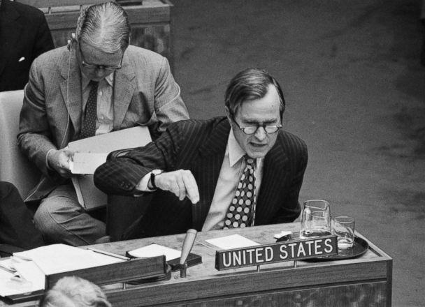 PHOTO: Amb. George Bush drives home a point during a meeting at the U.N. urging that the 25-nation steering committee recommend debate of global terrorism in the General Assembly, Sept. 22, 1972. (Bettmann Archive/Getty Images, file)