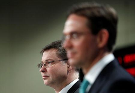 European Commission Vice Presidents Valdis Dombrovskis  and Jyrki Katainen hold a joint news conference in Brussels