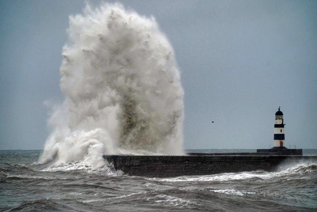 Giant waves at Seaham in County Durham