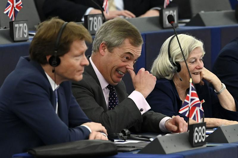 Brexit campaigner and Member of the European Parliament Nigel Farage (C) gestures as he attends a debate at the European Parliament in Strasbourg, eastern France on December 18, 2019. (Photo by FREDERICK FLORIN / AFP) (Photo by FREDERICK FLORIN/AFP via Getty Images)