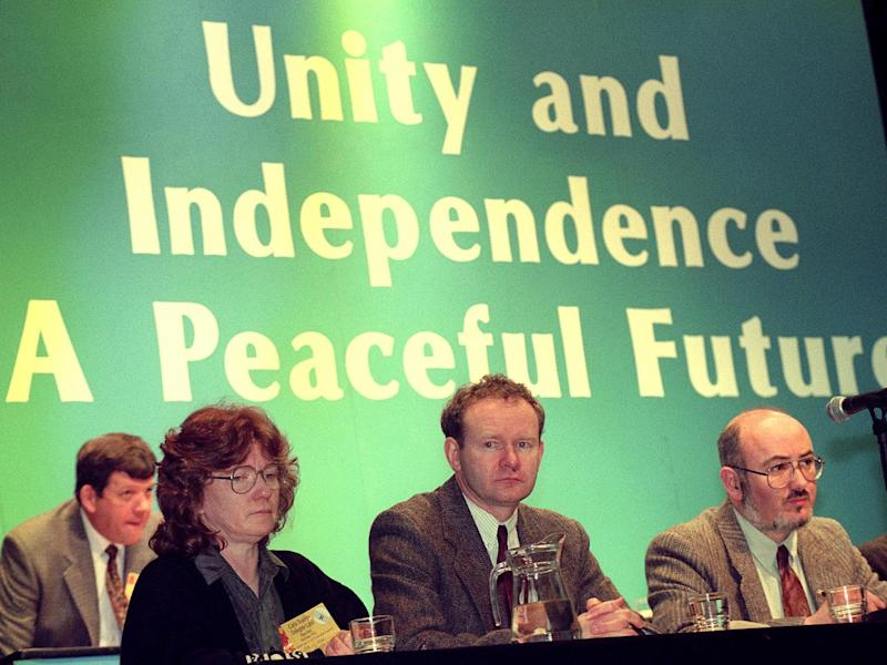 McGuinness on the platform at a Sinn Fein annual conference in Dundalk