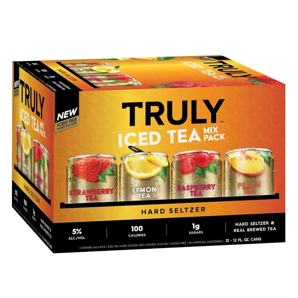 """<p>Truly is constantly reinventing their fan-favorite hard seltzers, and this iced tea mix pack is great for those who want some extra flavor in their drink and already love Truly lemonades. They come in flavors like strawberry, lemon, raspberry, and peach, and combine hard seltzer, real brewed tea, and other fruit flavors.</p><p><a class=""""link rapid-noclick-resp"""" href=""""https://www.abcfws.com/truly-iced-tea-mix-pack/844346"""" rel=""""nofollow noopener"""" target=""""_blank"""" data-ylk=""""slk:BUY NOW"""">BUY NOW</a> <strong><em>Truly Iced Tea Mixed Pack, $16.99, abcfws.com</em></strong></p>"""