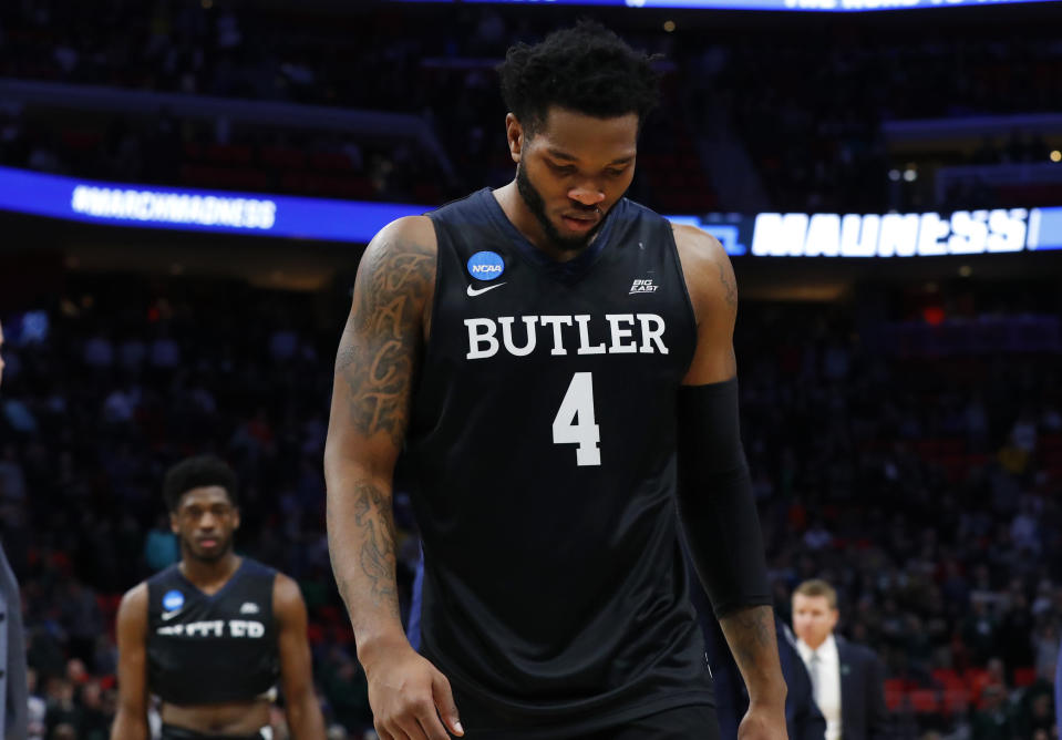 Butler forward Tyler Wideman walks off the floor after losing to Purdue in an NCAA men's college basketball tournament second-round game in Detroit, Sunday, March 18, 2018. (AP Photo/Paul Sancya)