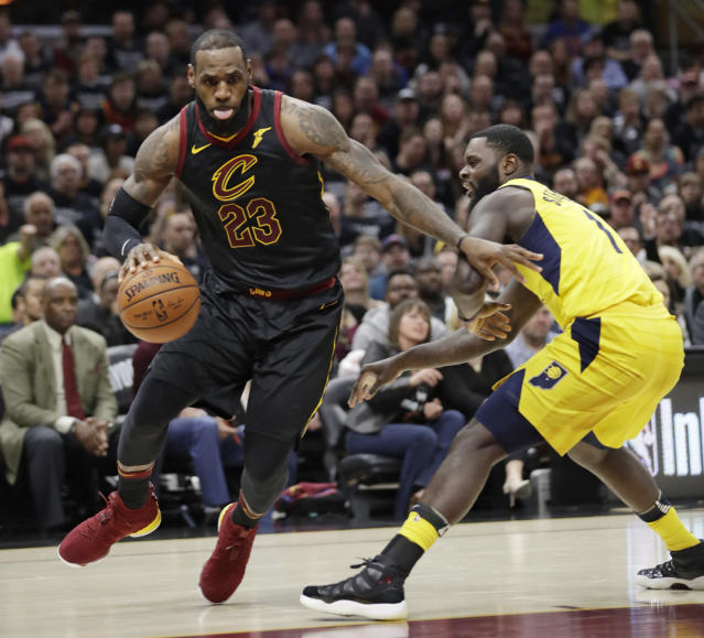 "<a class=""link rapid-noclick-resp"" href=""/nba/teams/cle"" data-ylk=""slk:Cleveland Cavaliers"">Cleveland Cavaliers</a>' <a class=""link rapid-noclick-resp"" href=""/nba/players/3704/"" data-ylk=""slk:LeBron James"">LeBron James</a>, left, drives past <a class=""link rapid-noclick-resp"" href=""/nba/teams/ind"" data-ylk=""slk:Indiana Pacers"">Indiana Pacers</a>' <a class=""link rapid-noclick-resp"" href=""/nba/players/4771/"" data-ylk=""slk:Lance Stephenson"">Lance Stephenson</a> in the first half of Game 7 of an NBA basketball first-round playoff series, Sunday, April 29, 2018, in Cleveland. (AP Photo/Tony Dejak)"