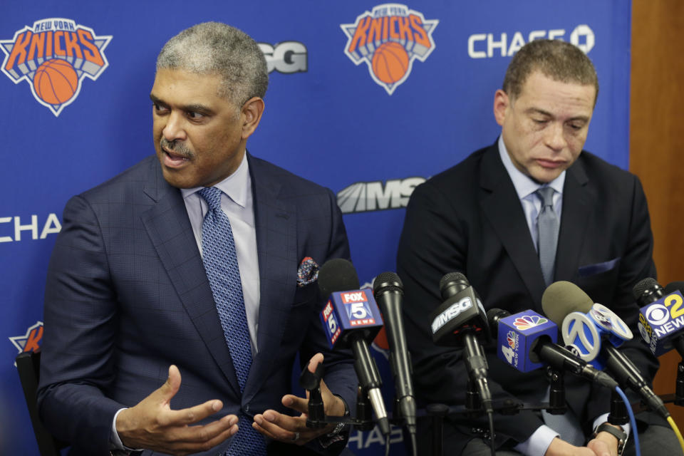 """<a class=""""link rapid-noclick-resp"""" href=""""/nba/teams/nyk"""" data-ylk=""""slk:Knicks"""">Knicks</a> president Steve Mills and general manager Scott Perry have decided to try a bold strategy: behaving like a normal NBA team. (AP)"""