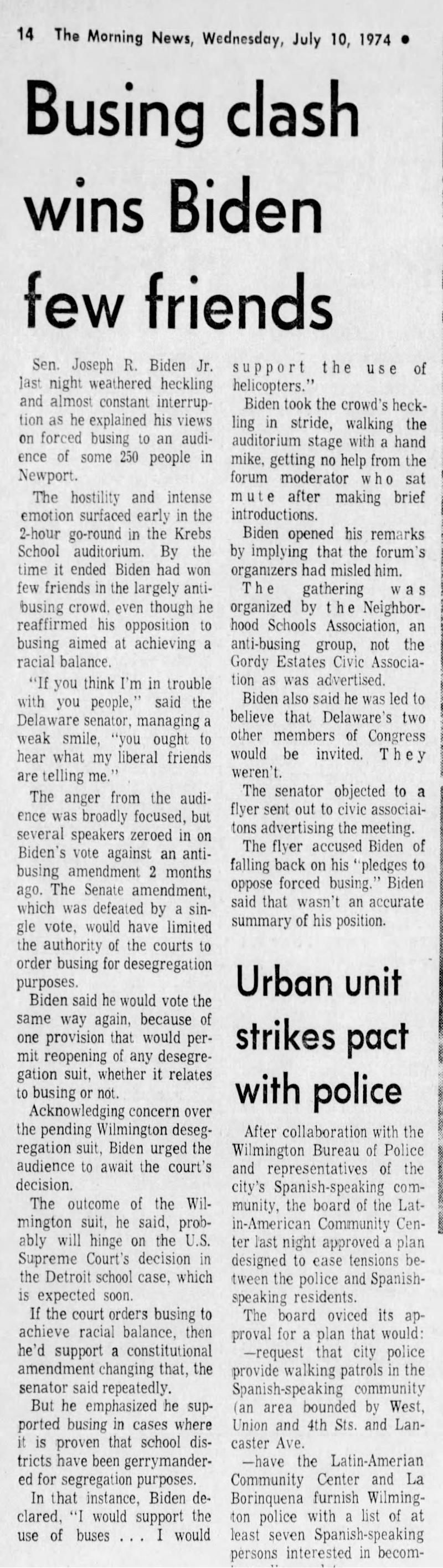 News Journal archival story on July 10, 1974 of Biden being heckled by suburban busing opponents in 1974