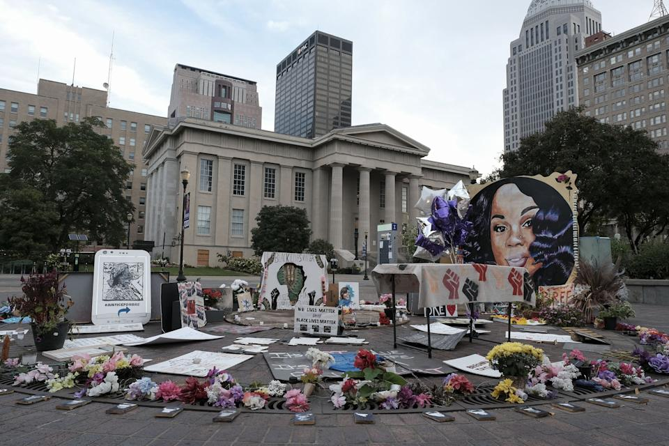 A memorial to Breonna Taylor, placed in Jefferson Square Park, is photographed in downtown Louisville, Kentucky on September 23, 2020 as the city anticipates of the results of a grand jury inquiry into the death of Breonna Taylor, a Black woman shot by the Louisville Metro Police Department in her apartment earlier this year. (Photo by Jeff Dean / AFP) (Photo by JEFF DEAN/AFP via Getty Images)