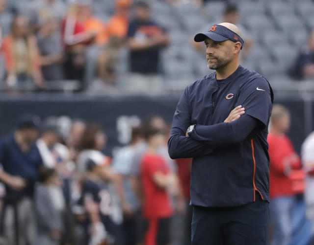 FILE - In this Aug. 25, 2018, file photo, Chicago Bears coach Matt Nagy watches players before a preseason NFL football game against the Kansas City Chiefs in Chicago. Chicago fired coach John Fox after finishing 5-11 and replaced him with the offense-minded Nagy. (AP Photo/Nam Y. Huh, File)