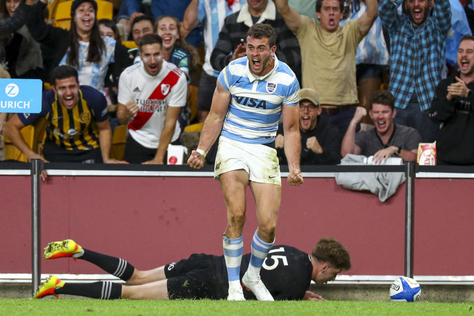 Argentina's Emiliano Boffelli celebrates after scoring a try during the Rugby Championship test match between the All Blacks and the Pumas in Brisbane, Australia, Saturday, Sept. 18, 2021. (AP Photo/Tertius Pickard)