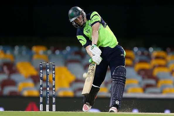 BRISBANE, AUSTRALIA - FEBRUARY 25: Kevin O'Brien of Ireland bats during the 2015 ICC Cricket World Cup match between Ireland and the United Arab Emirates at The Gabba on February 25, 2015 in Brisbane, Australia. (Photo by Chris Hyde/Getty Images)