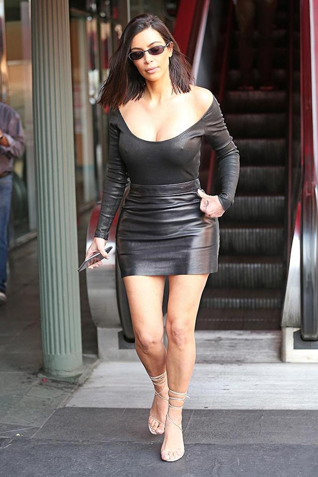 <p>While she was dressed for a night at the hottest club in town, Kardashian actually wore a racy leather look for lunch at an L.A. eatery with bestie Jonathan Cheban. (Photo: CMaidana/BACKGRID) </p>