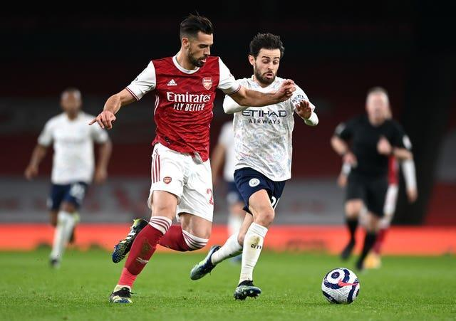 Pablo Mari (left) returned to the Arsenal team but could not prevent a defeat.