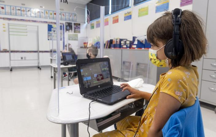 """<span class=""""caption"""">Today's tests have more potential to facilitate student learning, rather than just monitor it.</span> <span class=""""attribution""""><a class=""""link rapid-noclick-resp"""" href=""""https://www.gettyimages.com/detail/news-photo/student-works-on-her-laptop-at-sunkist-elementary-school-in-news-photo/1312167255"""" rel=""""nofollow noopener"""" target=""""_blank"""" data-ylk=""""slk:Paul Bersebach/Orange County Register via Getty Images"""">Paul Bersebach/Orange County Register via Getty Images</a></span>"""