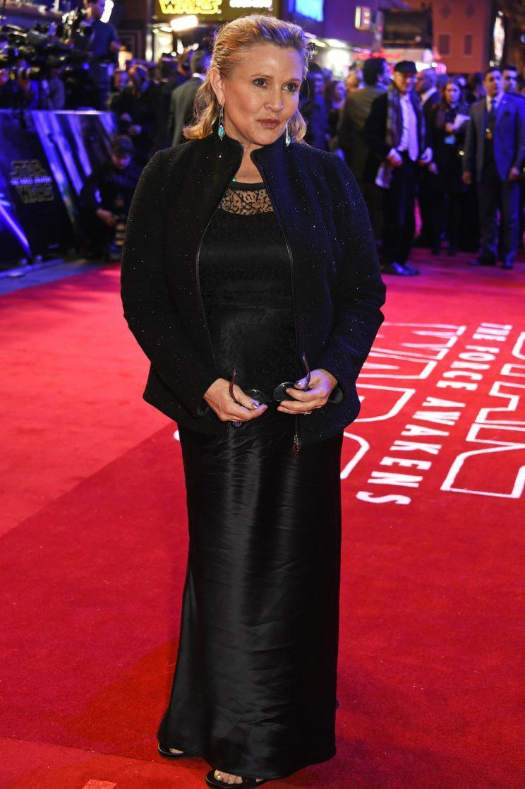 <p>Carrie Fisher attends the European Premiere of <em>Star Wars: The Force Awakens</em> in Leicester Square in London on Dec. 16, 2015. (Photo: David M. Benett/Dave Benett/WireImage)</p>