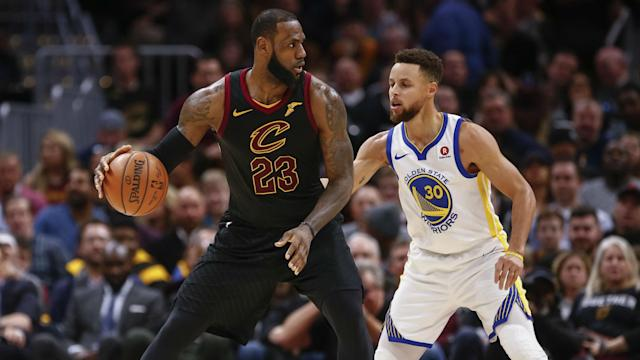 "<a class=""link rapid-noclick-resp"" href=""/nba/players/3704/"" data-ylk=""slk:LeBron James"">LeBron James</a> will be wearing a new jersey the next time he faces <a class=""link rapid-noclick-resp"" href=""/nba/players/4612/"" data-ylk=""slk:Stephen Curry"">Stephen Curry</a>, but they'll still be spending the holidays together."