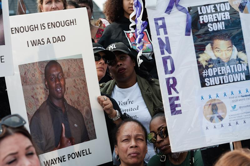 A protest against knife crime in London earlier this year (Photo by WIktor Szymanowicz/NurPhoto)